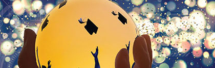 Graduating students in a crystal ball against a futuristic background - image for the Sierra Nevada University 2020 virtual gala