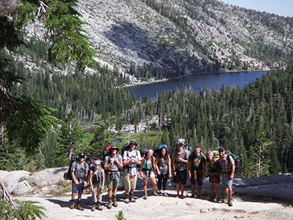 学生们 participate in Wilderness Orientation, a backpacking trip into Desolation Wilderness as a way to introduce new students to each other and to the Tahoe Basin
