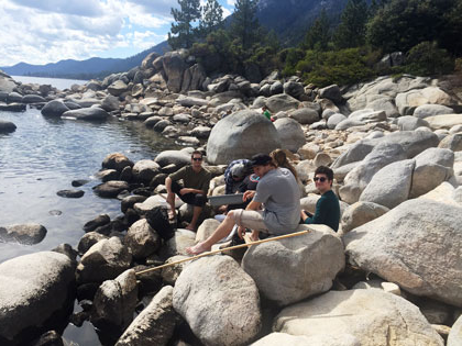 Animal Behavior students spend class catching crayfish at Hidden Beach at Lake Tahoe