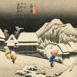 Hiroshige print of the mountains of Japan in winter