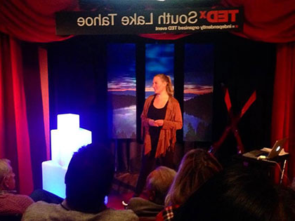 可持续性 and Ski 商业 Resort Management alumna 码头麦科伊 speaks at TEDx in South Lake Tahoe